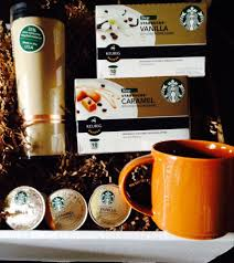 k cup gift basket winit starbucks vanilla and caramel k cup gift basket 50 value