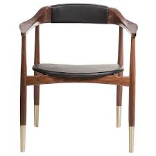Modern Style Dining Chairs European Mid Century Modern Style Walnut Leather And Brass Dining