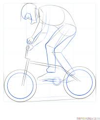 how to draw a bmx biker step by step drawing tutorials