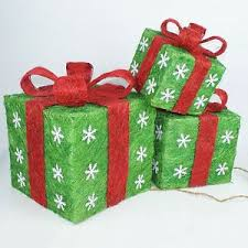 lighted christmas present boxes set of 3 green sisal gift boxes lighted christmas yard