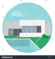 vector illustration modern minimalistic house swimming stock