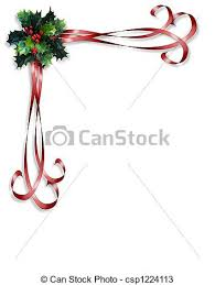 drawings of christmas holly and ribbons border image and