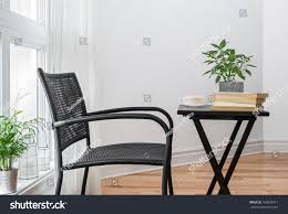 room black chair table decorated plants stock photo 160839917