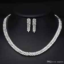 white necklace sets images 2018 top grade 18k white gold plated brilliant aaa cz diamond jpg