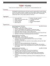 maintenance technician resume general maintenance technician resume exles free to try today