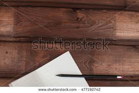 Wooden Desk Background Free Blank Note Book With Pencil On Wooden Table Background