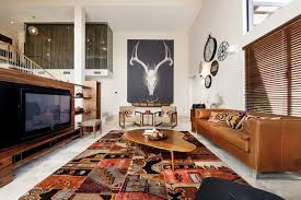 Large Brown Leather Sofa Ikat Rugs Living Room Southwestern With Area Rug Biomorphic Brown