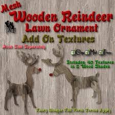 fud mesh wooden reindeer lawn ornament add on textures ad colab
