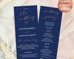 downloadable wedding programs navy and gold wedding program template wedding