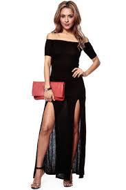 off the shoulder double slit black maxi dress cicihot