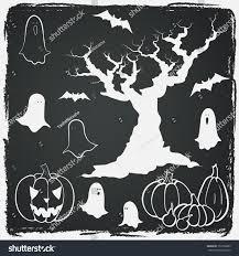 hand drawn halloween set cartoon spooky stock vector 152760683