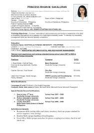 exle of resume cv resume format venturecapitalupdate