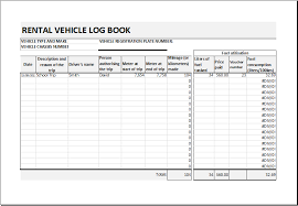 car report template exles rental vehicle log book template for excel excel templates