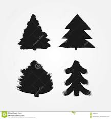 set of abstract silhouettes of christmas trees painted with a