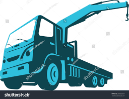 vector illustration truck mounted hydraulic crane stock vector