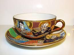 Dragon Coffee Cup Vintage Satsuma Dragon Wear Moriage Kannon Goddess And Immortals