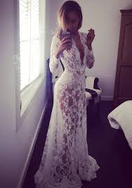 white plain plunging neckline long sleeve lace maxi dress