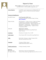 Sample Resume Cook Objectives by Sample Resume Without Work Experience Gallery Creawizard Com