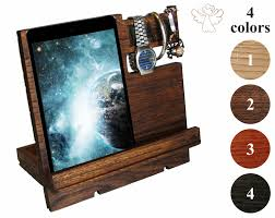 docking station wooden phone stand men apple watch stand ipad