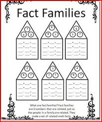 fact family worksheets for 1st grade kristal project edu hash