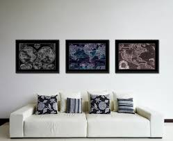 world ocean currents vintage vivid color map home decor wall art