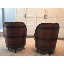 wine barrel swivel chairs set of 4 chairish