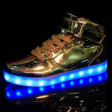 led shoes gold high top remote
