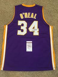 shaquille o u0027neal signed purple los angeles lakers jersey jsa ebay