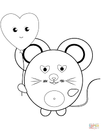 kawaii mouse coloring page free printable coloring pages