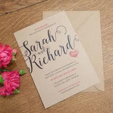 love heart kraft wedding invitation and rsvp by pink polar