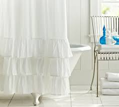 White Shower Curtains Ruffle Shower Curtain Pottery Barn