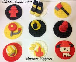 firefighter cupcake toppers fondant truck cupcake topper firefighter cake topper