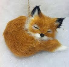 sleeping fox woodland animal tree ornament faux fur