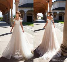 elegant a line champagne tulle beach wedding dresses 2018 off
