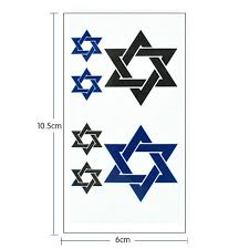 2pcs star of david flash tattoo hand sticker small waterproof