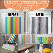 faux fireplace decorating with pool noodles u2013 butterscotch and berry u0027s