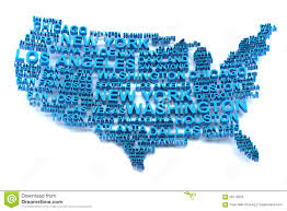 Map Of Usa With Major Cities by Map Of Usa Formed By Names Of Major Cities Stock Illustration