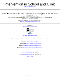 explicit mathematics instruction what teachers can do for teaching