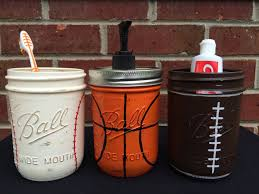 Mason Jar Bathroom Storage by Sports Theme Bathroom Decor Baseball Football Basketball