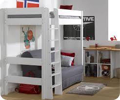 lit mezzanine et canapé lit mezzanine enfant clay blanc avec matelas