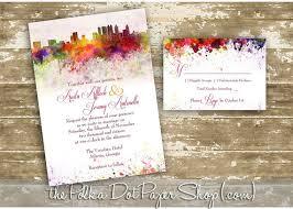 wedding invitations atlanta atlanta graffiti watercolor skyline wedding invitation