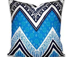 Lumbar Patio Pillows Block Print Pillow Ethnic Handprint Throw Accent Pillow Lumbar