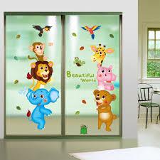 kids murals promotion shop for promotional kids murals on cartoon animals lion elephant monkey giraffe wall sticker paper home decal art diy mural kid nursery baby living room decoration