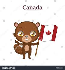 national animal beaver canadian flag stock vector 501242830