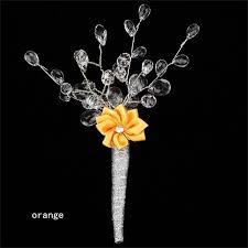 wedding flowers groom 5 pieces lot acrylic bead pearls silk flower groom