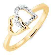 heart ring ring with 1 20 carat tw of diamonds in 10kt yellow gold