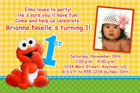 custom birthday invitations custom photo birthday invitation baby elmo 1st birthday design