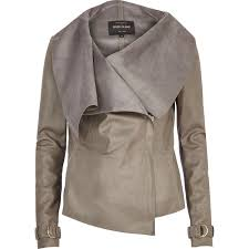 river island grey leather look waterfall jacket in gray lyst