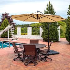 sunnydaze steel 10 foot offset patio umbrella with cantilever