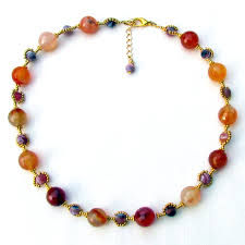 handmade beaded necklace designs images Red carnelian and gold seed bead necklace lisa weir jpg